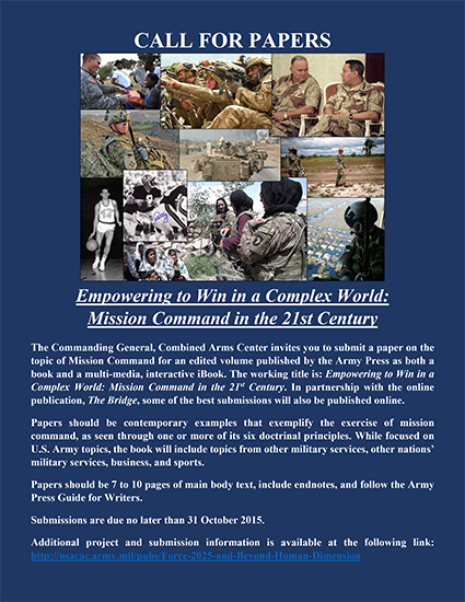 Call For Papers | US Army Combined Arms Center